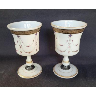 Pair Of Glasses, Charles X Enameled Opaline