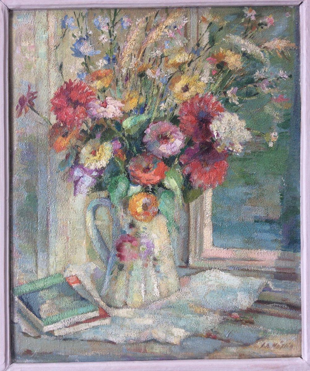 Superbe Tableau Peinture Joseph Muslin Peintre Alsacien Bouquet De Fleurs Alsace Cadre Bouche