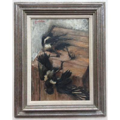 Hsp Table Painting Michel De Gallard Young Painting Still Life With Magpies 1953