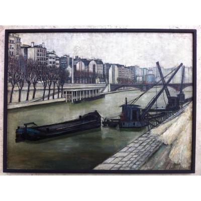 Table Michel De Gallard The Quays Of The Seine In Paris 1951 Influence Bernard Buffet