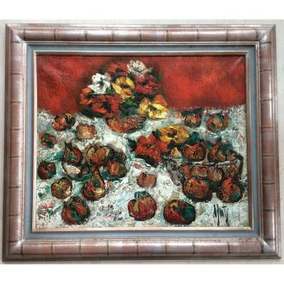 Superb Painting Painting Henri d'Anty Still Life Red With Fruits
