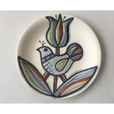Roger Capron Plate 50s Ceramics Vallauris