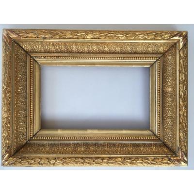 Cadre Doré XIXème Barbizon Format 3m Pour Tableau Peinture 27x16cm