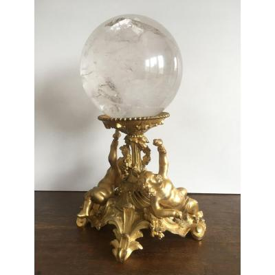 Superb Gilt Bronze With Putti And Its Rock Crystal Ball