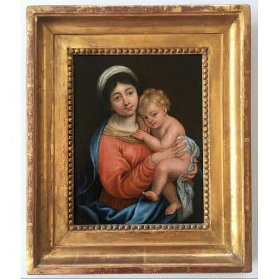 Très Beau Tableau Religieux XVIIIème Vierge à l'Enfant, Marie Et Jesus