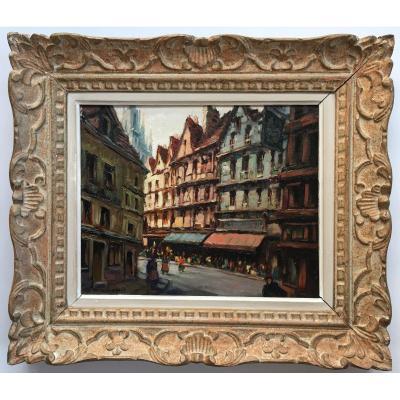 Rare Tableau Jean Jacques Waltz , Hansi Peintre Illustrateur Alsace Vue De Rouen