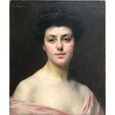 Painting Portrait Of Woman Not Gaston Casimir Saint Pierre Dated 1907