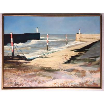 Très Beau Tableau Bord De Mer Jacques Ciry (1914-1982) Peinture Marine Phare