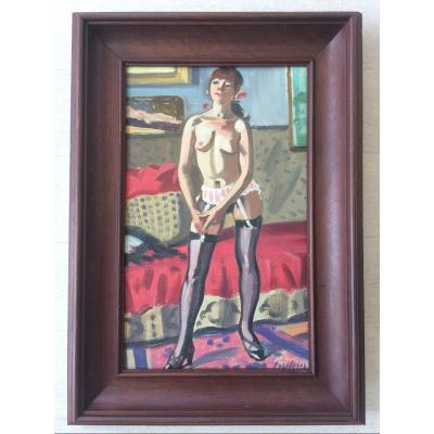 Tableau Peinture Nu Féminin Robert Lepeltier Peintre De Paris 1913-1996