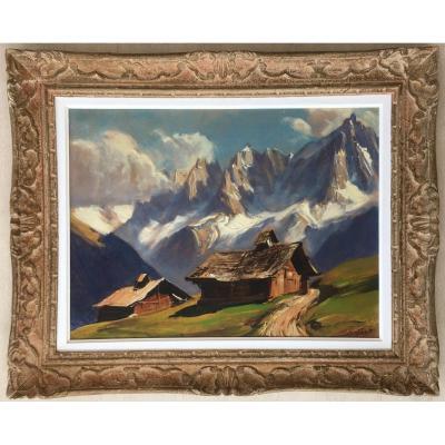 Superb Painting Marcel Wibault Les Aiguilles De Chamonix Mountain