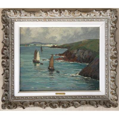Tableau Peinture Henri Maurice Cahours Vue De La Baie De Douarnenez Bretagne