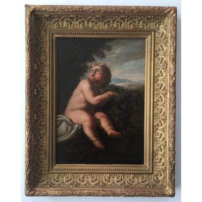 Superb Table Painting XVIIIth Louis XIV Baroque Putti Putto Angel