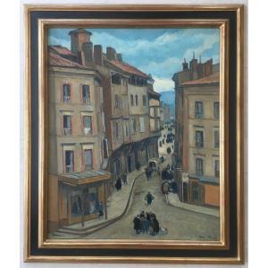 Très Beau Tableau Peinture Vue Animée Par André Strauss 1885-1971
