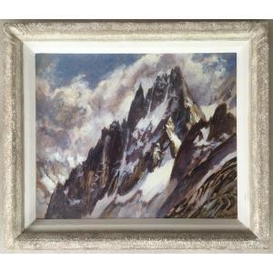 Superbe Tableau Peinture Marcel Wibault Les Grands Charmoz (aiguilles De Chamonix) Montagne