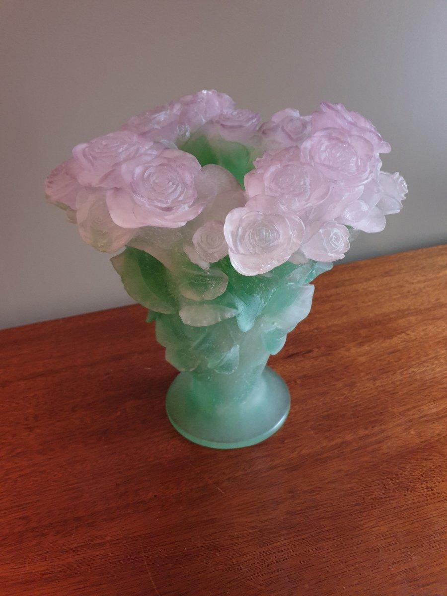 """Vase Daum en pâte de cristal de la collection """"Roses"""" hauteur 30 cm"""