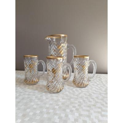 Twisted And Gilded Orangeade Pitcher With Fine Gold And Three Assorted Glasses