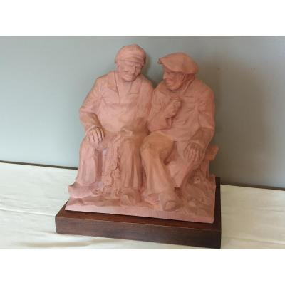 Two Seated Fishermen Terracotta Sculpture