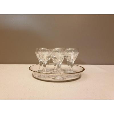 Glass Tray With 8 Shot Glasses
