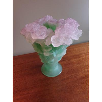 "Daum Vase In Crystal Paste From The ""roses"" Collection, Height 30 Cm"