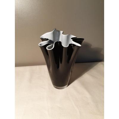 Vase Mouchoir En Verre Doublé Noir Et Blanc Hauteur 25 Cm