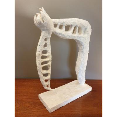 L.miller 20ème (vers 1960) Sculpture En Plâtre