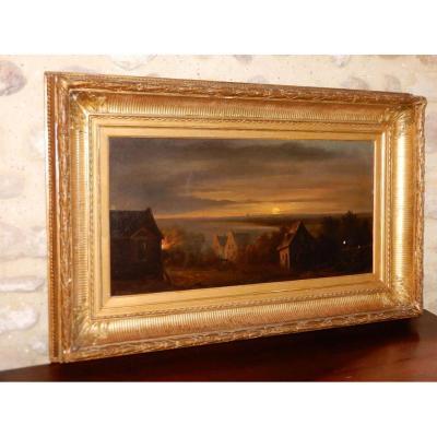 Oil On Canvas 68x35 D.donny Twilight Landscape