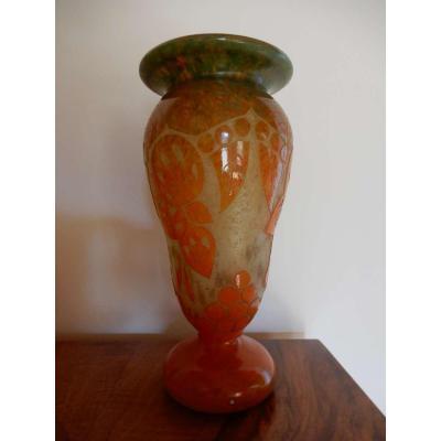 French Glass Vase / Charles Schneider
