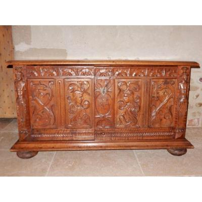 Carved Walnut Chest From XVII Eme