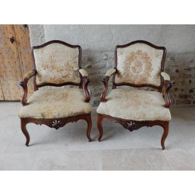 Pair Of Large Louis XV Armchairs