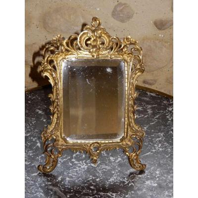 Table Mirror, Gilt Bronze, Louis XV Style, Rockery