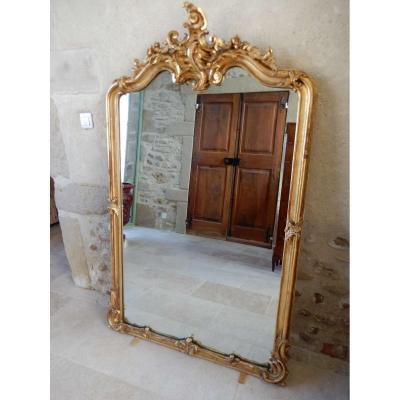 Miroir Style Louis XV Bois Doré 19 Eme Siècle