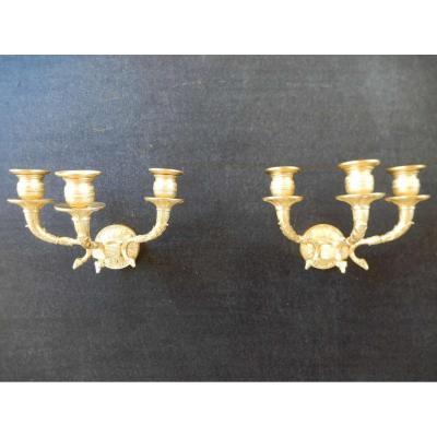 Pair Gilt Bronze Sconces Charles X Style