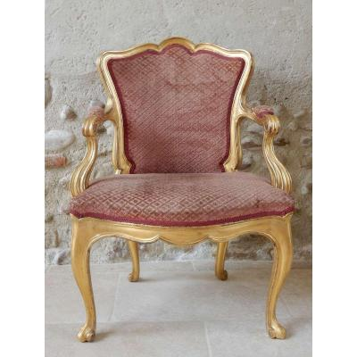 Louis XV Period Cabriolet In Golden Wood