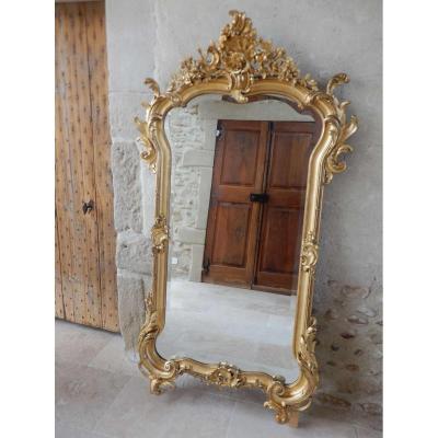 Louis XV Style Golden Wood Mirror