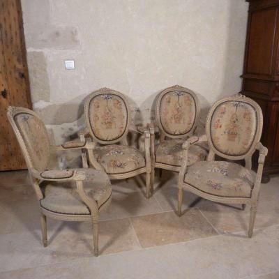 Suite Of Four Louis XVI Style Armchairs With Medallion Back