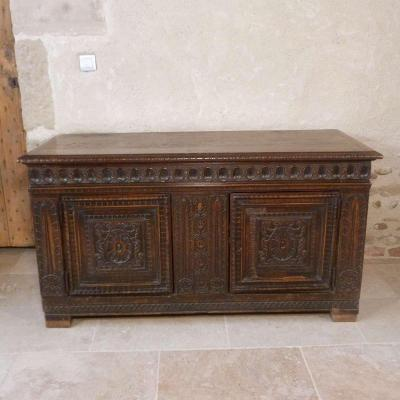 Carved Walnut Chest From XVII Eme Century