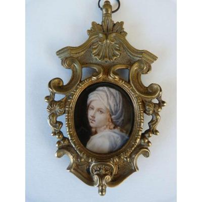 Miniature Portrait Painted On Ivory XVIII Eme