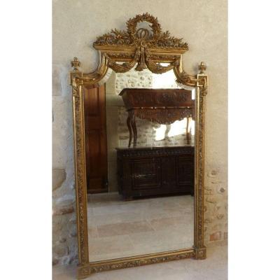 Grand Miroir Doré Style Louis XVI