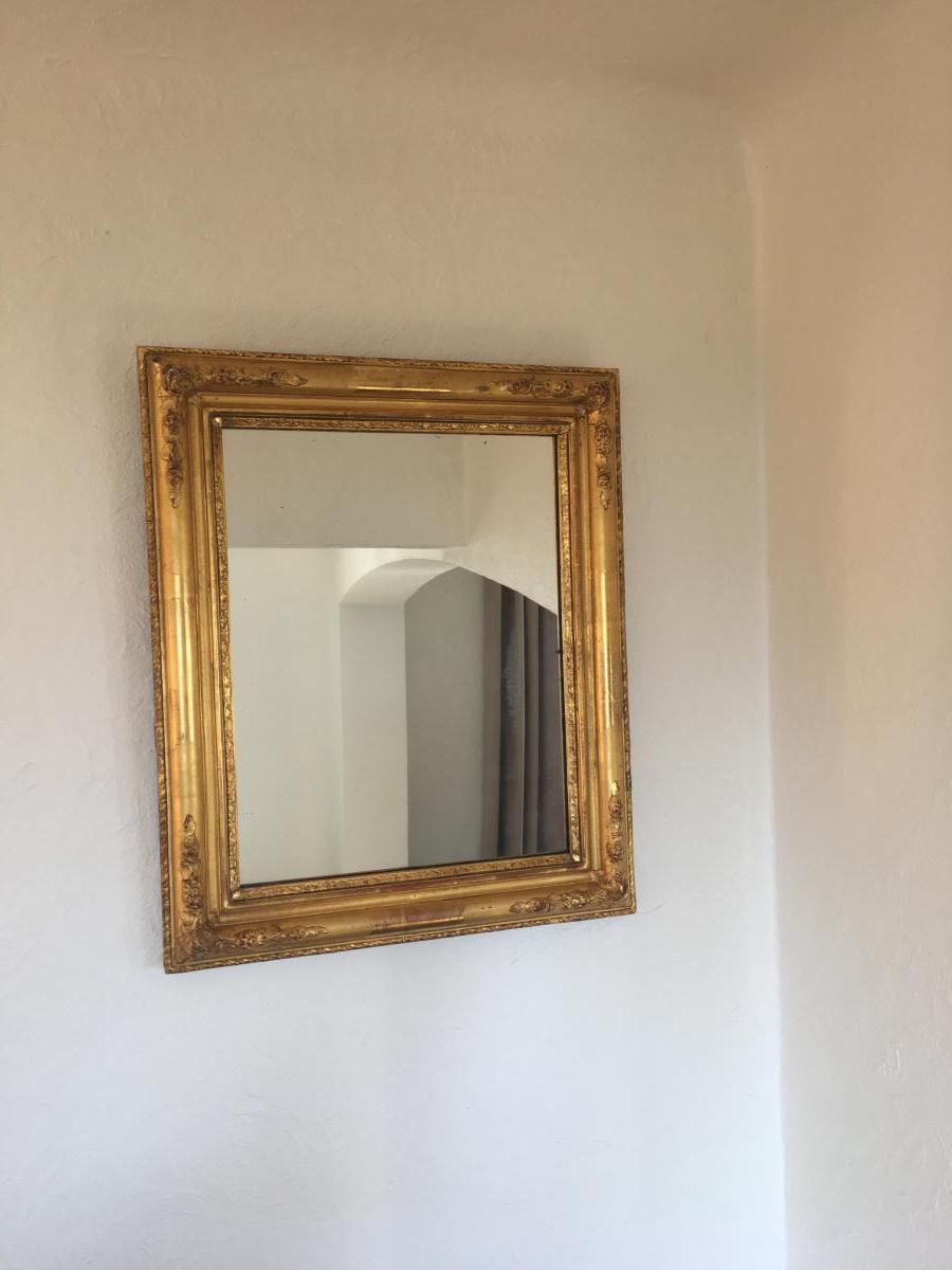 Miroir au mercure En Bois Doré XIX ème