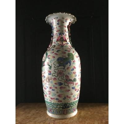 Important Rose Family Vase China XIX