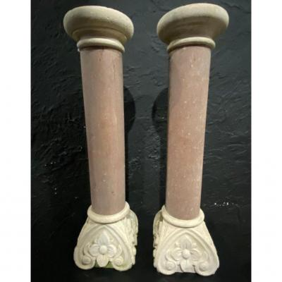 Pair Of Column - Marble And Stone - France - XIX