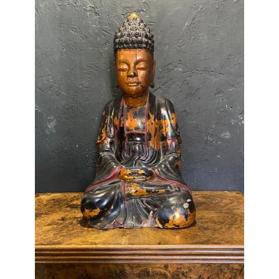 Important Buddha - Lacquered Wood - Vietnam  - XVIIIth