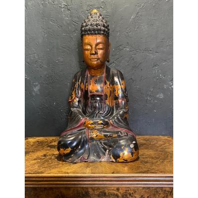 Important Bouddha - Bois Laqué - Vietnam - XVIII ème