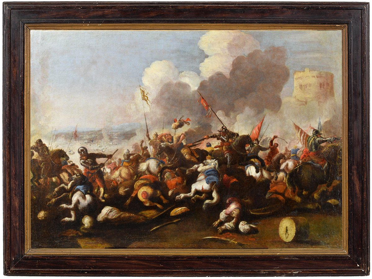 Antonio Calza  (1653 – 1725) Bataille Entre Cavalerie Chrétienne Et Turque Avec Tour Circulaire