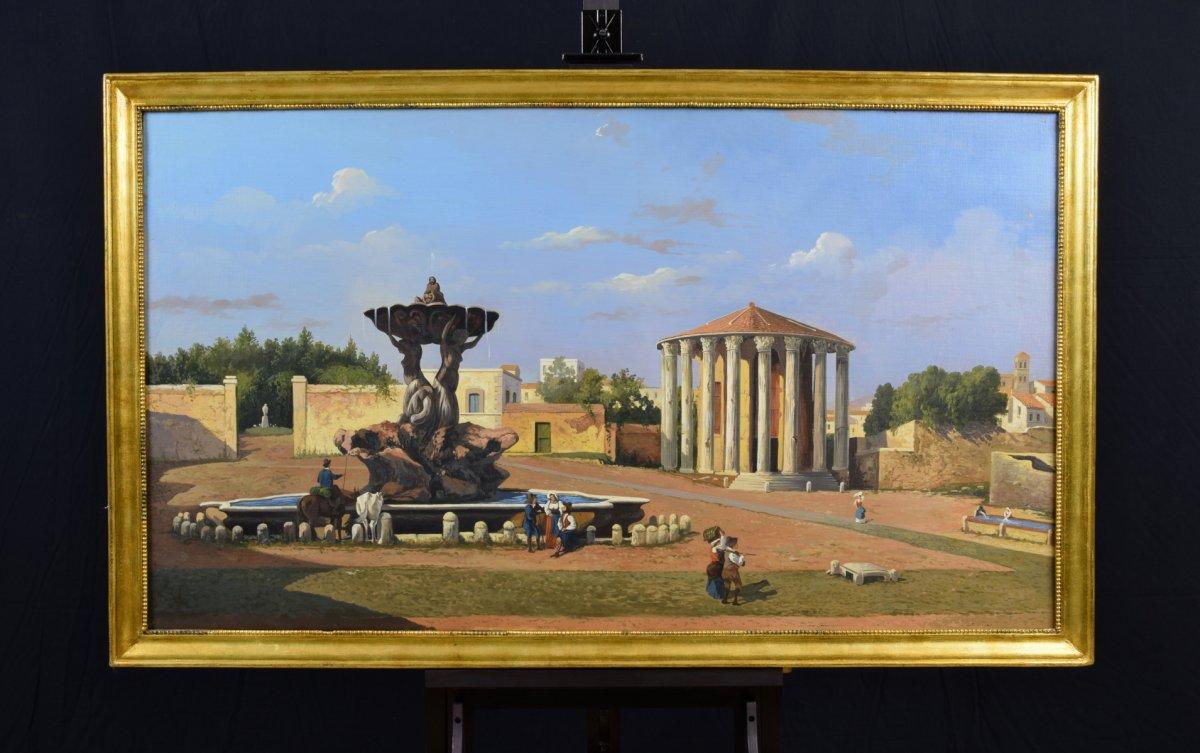Vue Du Forum Boario Avec Le Temple De Vesta, Huile Sur Toile, XIXe Siècle