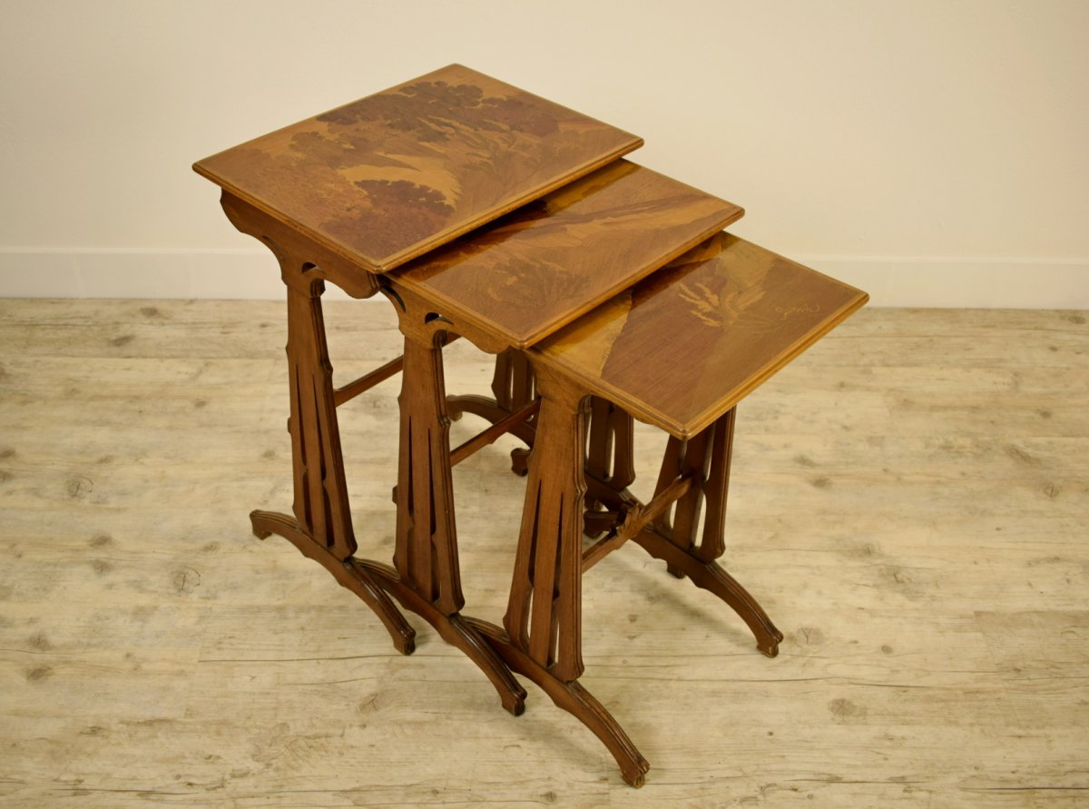 20th Century, Three French Nesting Wood Coffee Tables By Emile Gallè (1846-1904)
