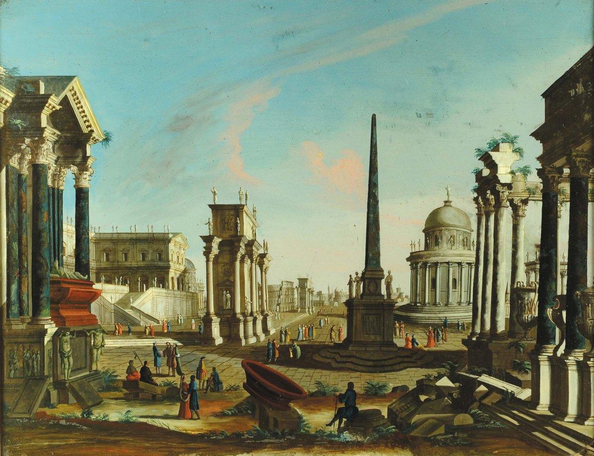 Caprice Architectural Romain Avec Des Personnages, Francesco Chiarottini, Italie XVIIIe Siècle