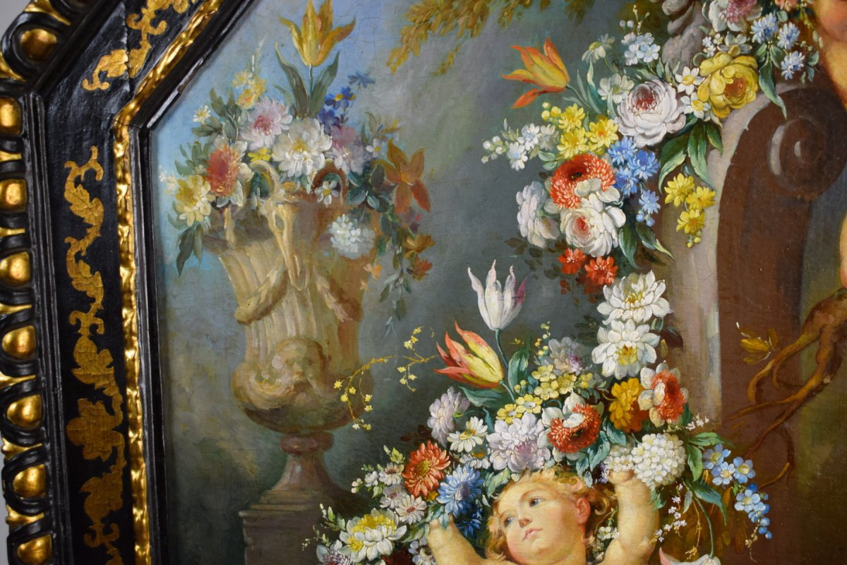 Peintre Romain Du XIXe Siècle,  Nature Morte Avec Putti, Festons De Fleurs, Huile Sur Toile-photo-4