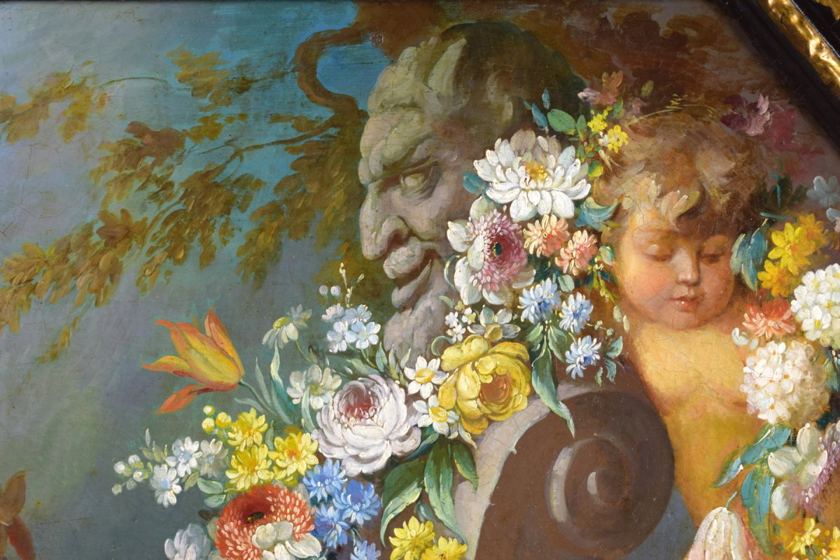 Peintre Romain Du XIXe Siècle,  Nature Morte Avec Putti, Festons De Fleurs, Huile Sur Toile-photo-5