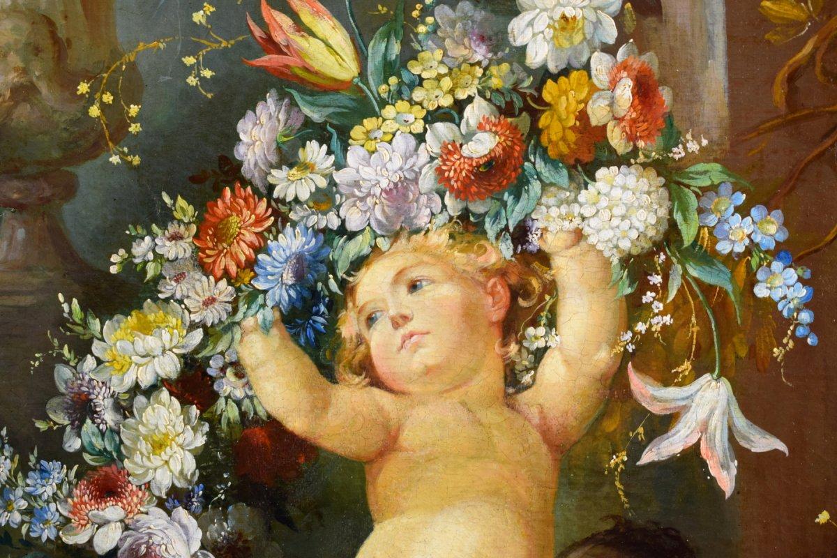 Peintre Romain Du XIXe Siècle,  Nature Morte Avec Putti, Festons De Fleurs, Huile Sur Toile-photo-6